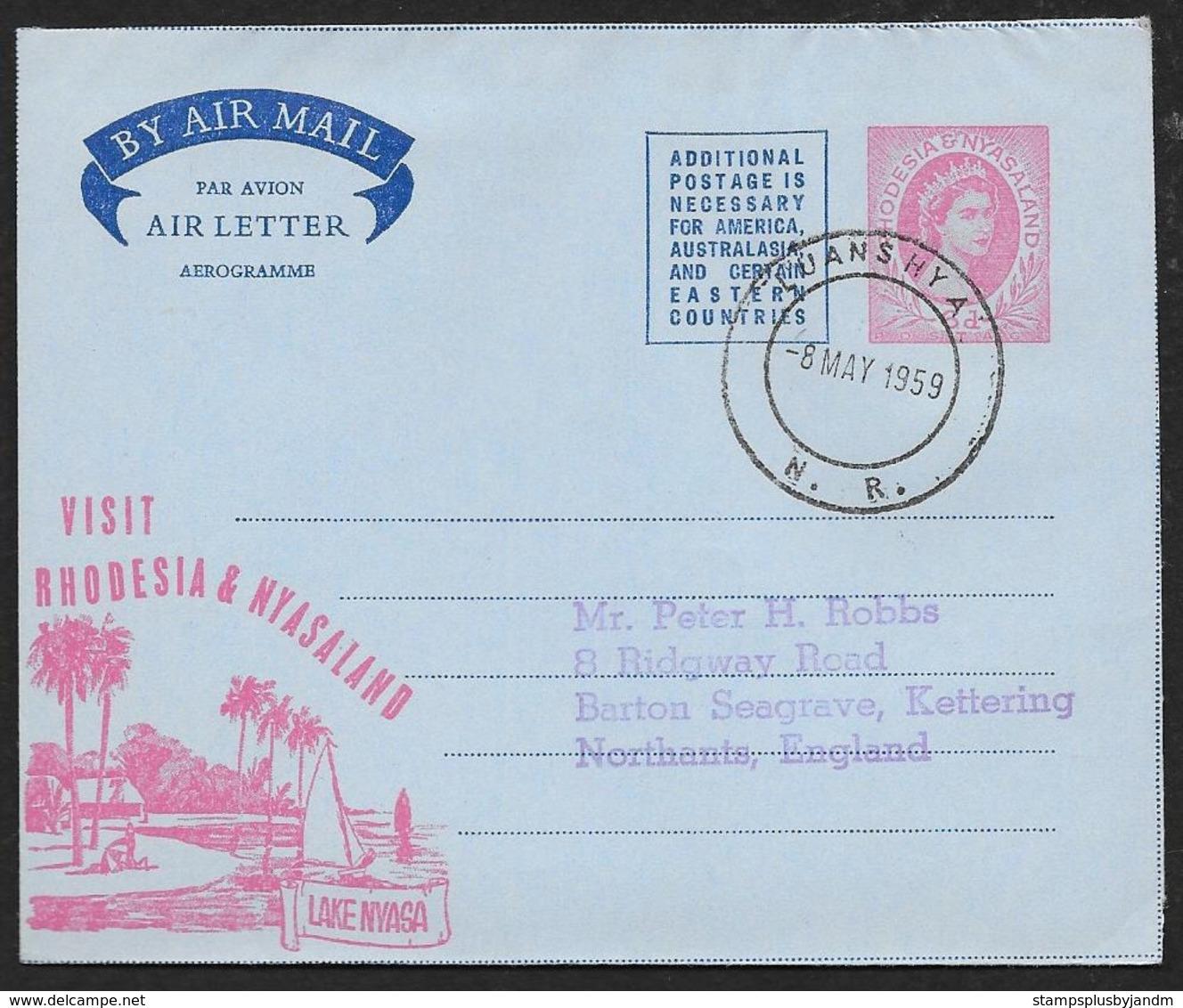 RHODESIA & NYASALAND Aerogramme 6d Queen 1959 Luanshya Cancel To England Lake Nyasa Cachet! STK#X21340 - Rhodesia & Nyasaland (1954-1963)