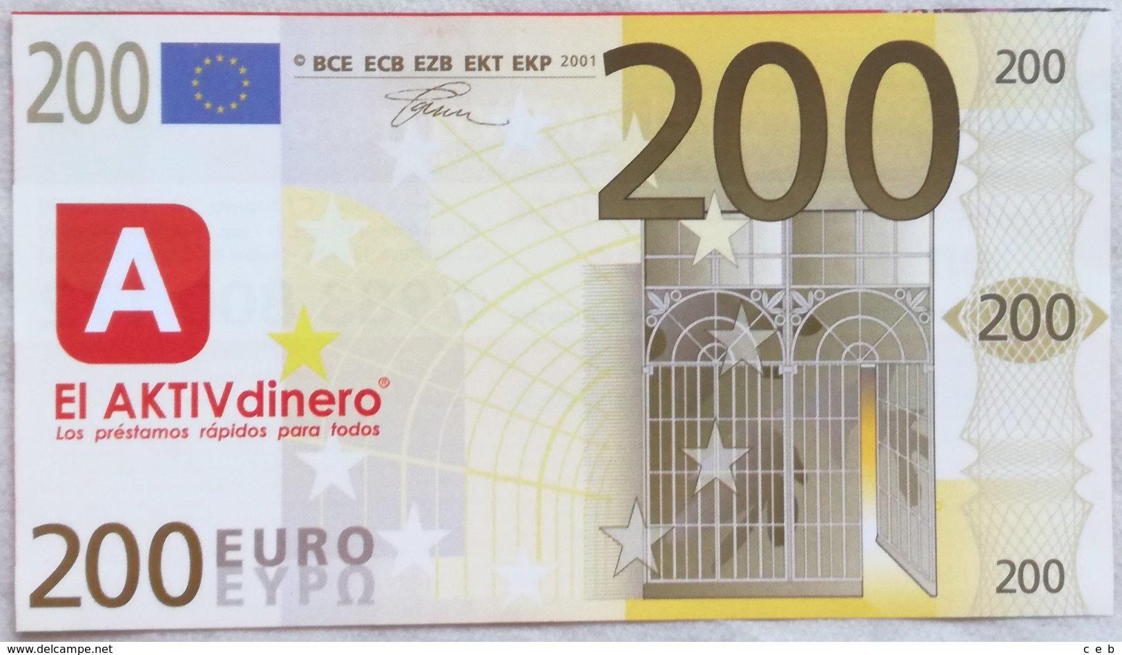 Billete 200 Euros. 2001. España. Europa. Facsimil. Sin Serie. Sin Circular. - [ 8] Fictifs & Specimens