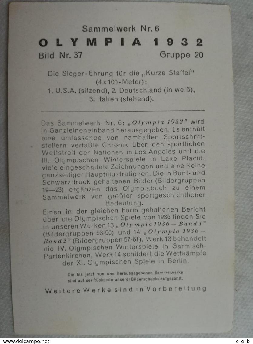 Foto Cromo Olimpiada De Los Ángeles. 1932. Nº 37. Atletismo 4 X 100 Metros Relevos. USA, Alemania, Italia. Hecho En 1936 - Tarjetas