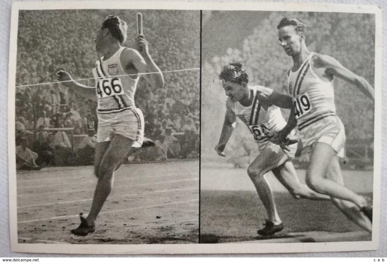 Foto Cromo Olimpiada De Los Ángeles. 1932. Nº 38. Atletismo 4 X 100 Metros Relevos. USA, Alemania. Hecho En 1936 Berlín - Tarjetas