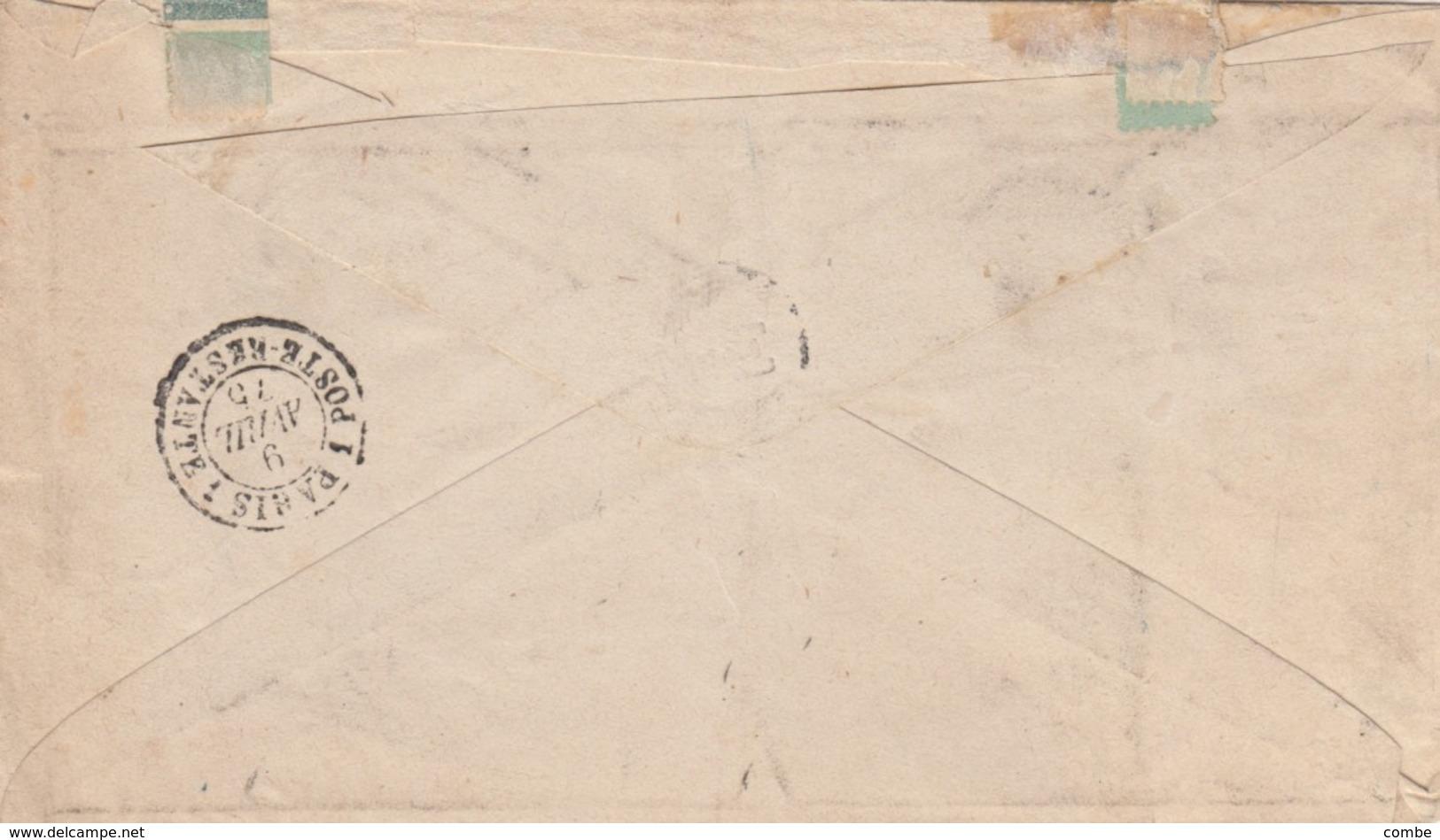 LETTRE. SUISSE. 8 4 1875. ENTIER 10c. PD. SARNEY POUR PARIS. ENTREE SUISSE BELFORT  / 3 - Stamped Stationery
