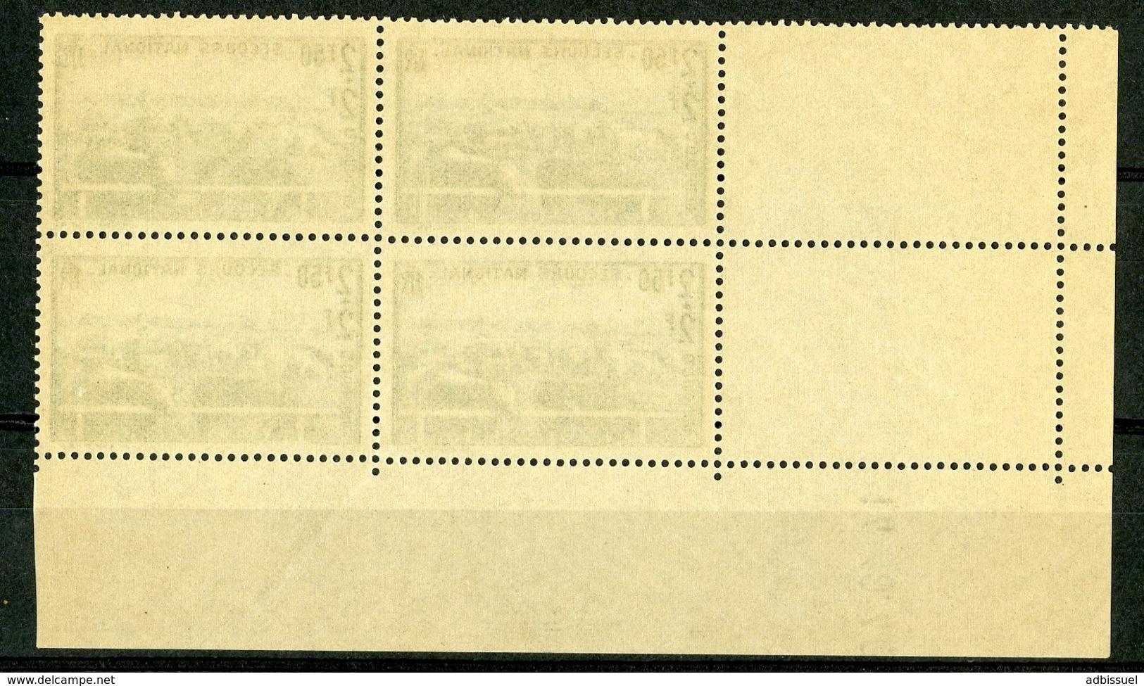 """N° 469 ** (MNH). Cote 30 €. Coin Daté Du 14/10/40 / Bloc De Quatre """"Elevage"""". - Ecken (Datum)"""