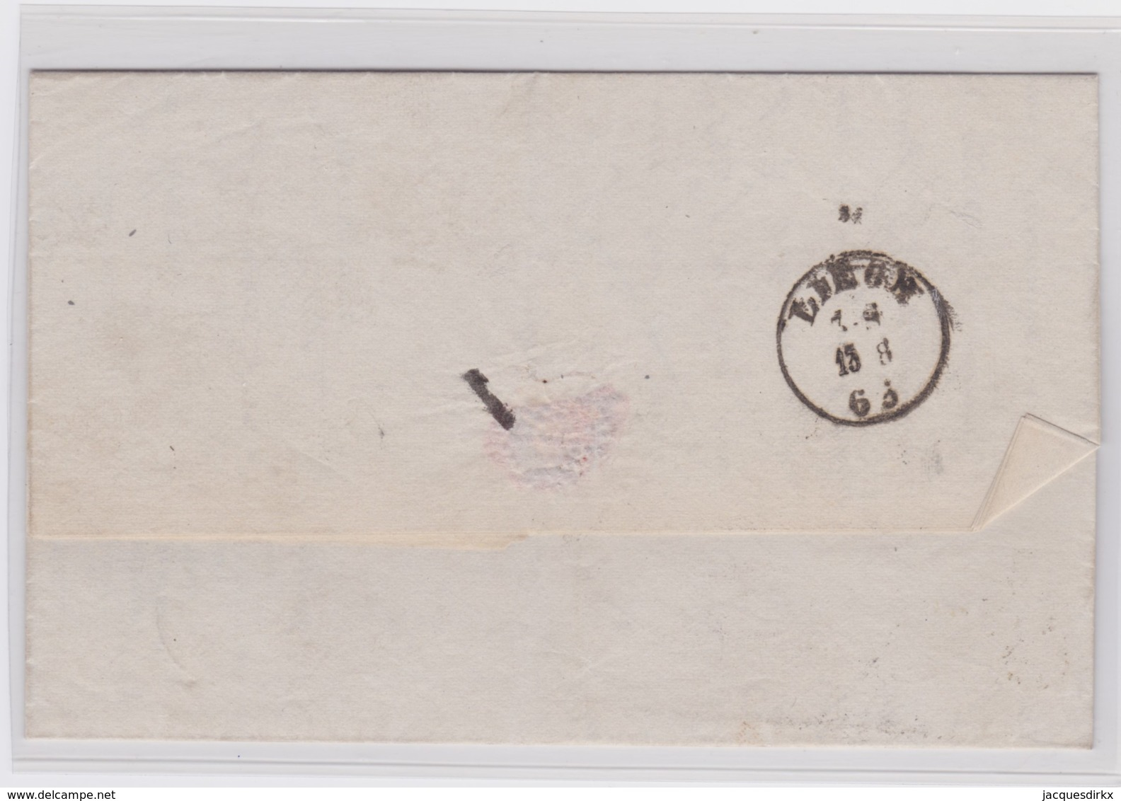 Belgie      .    OBP     .     14 Op Brief  (2 Scans)      .         O     .     Gebruikt   .   /   .   Oblitéré - 1863-1864 Médaillons (13/16)
