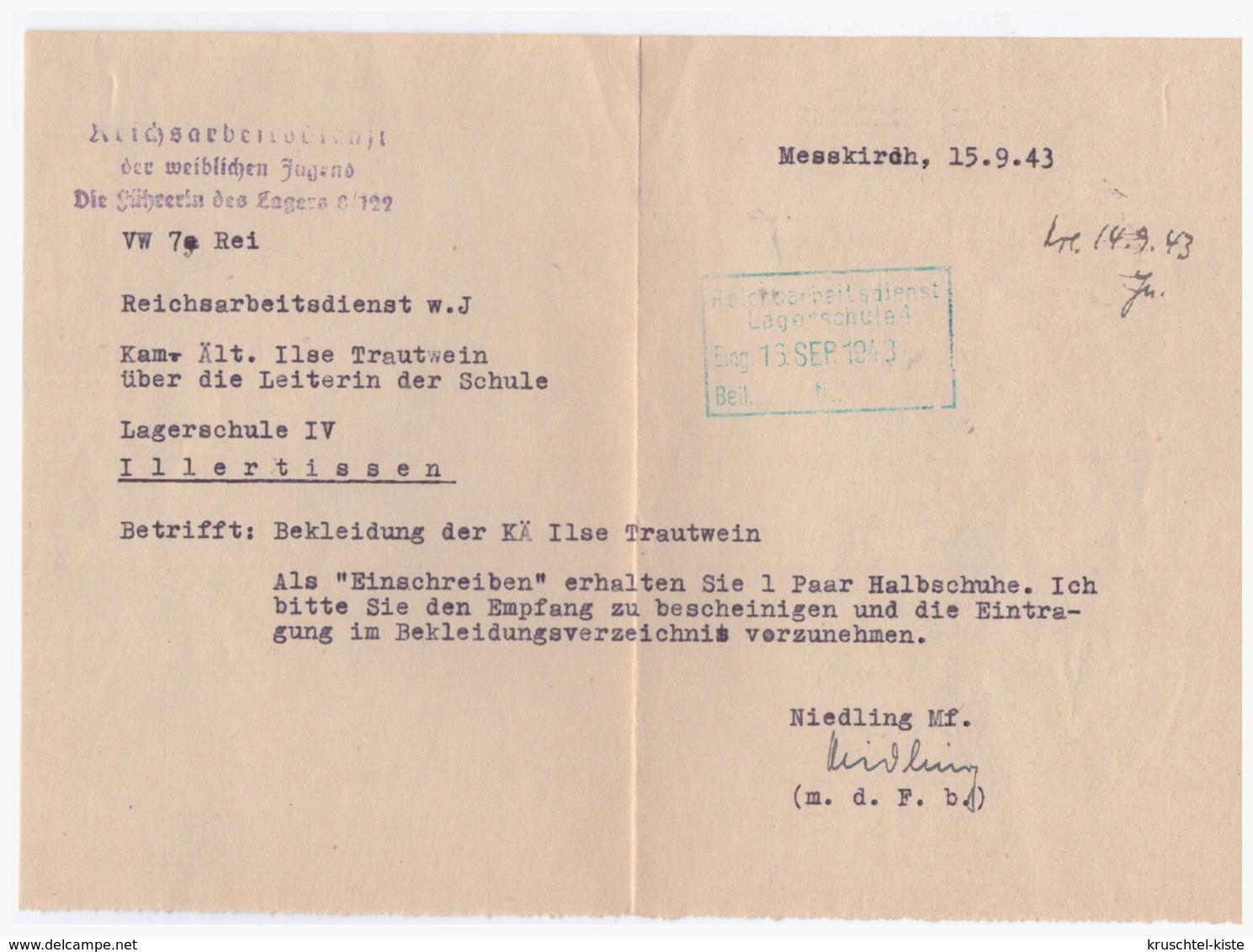 Dt.-Reich (002965) Propaganda Reichsarbeiterschaft Der Weiblichen Jugend, Die Führerin Des Lagers 8/122, Lagerschule IV - Germany