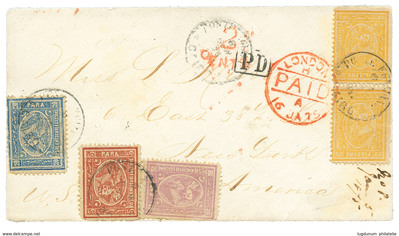 """""""4 PIASTRE 35 Para Rate To UNITED STATES : 1875 EGYPT 5p + 10p+ 20p+ 2 P(x2) On Envelope From CAIRO To NEW-YORK (USA). V - Non Classificati"""