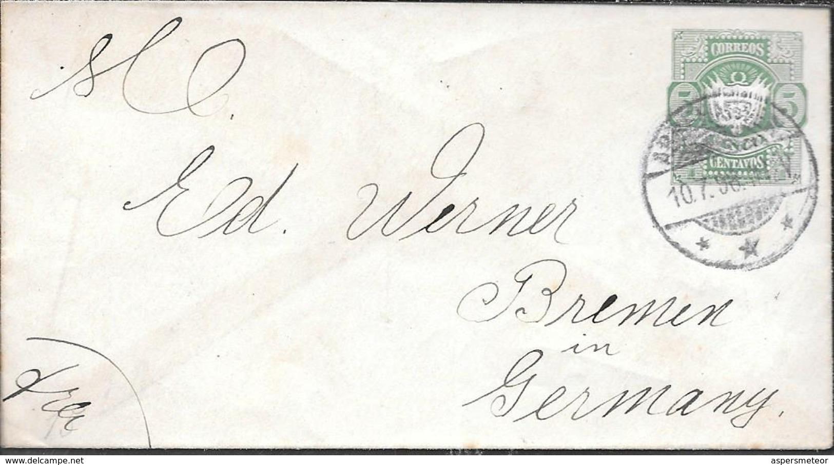 BOLIVIA BOLIVIE ENTERO POSTAL CIRCULADO A ED WERNER AÑO 1896 BREMEN ALEMANIA RARE ET BELLE - Bolivia