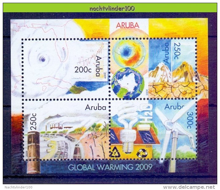 Ncp0423 OPWARMING VAN DE AARDE KLIMAAT EARTH HURRICANE CLIMATE POLUTION WINDMILL MAP INDUSTRY CARS ARUBA 2009 PF/MNH - Milieubescherming & Klimaat