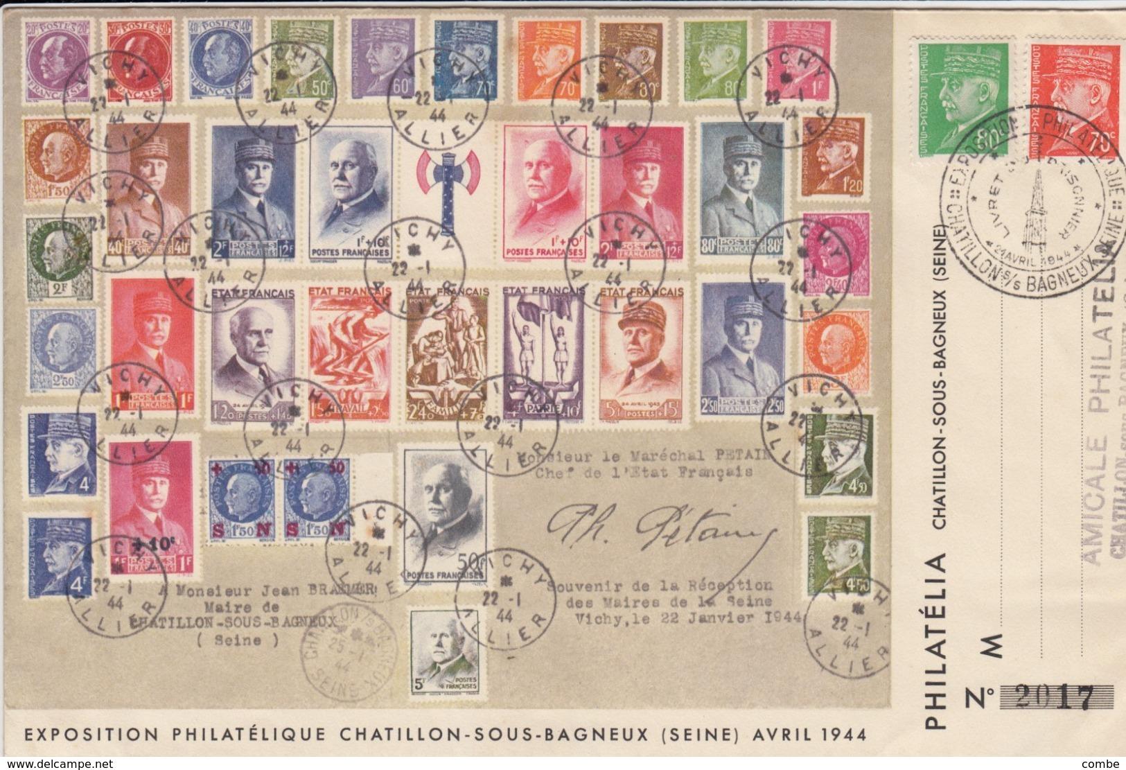 LETTRE. 21 AVRIL 1944. PETAIN SOUS TOUTES SES FORMES. AMICALE DE CHATILLON-SOUS-BAILLEUX SEINE - Poststempel (Briefe)