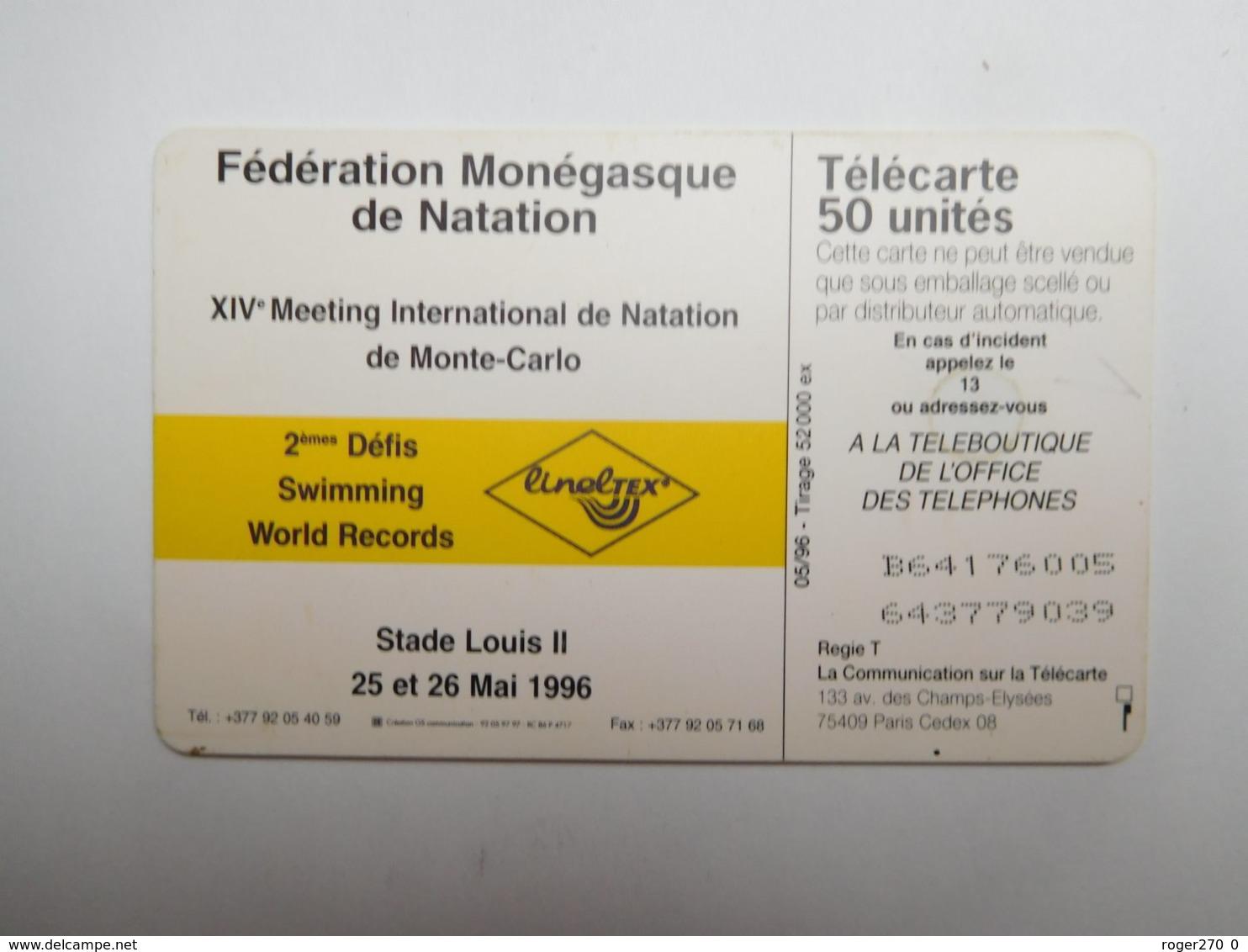 Télécarte Publique , Monaco , Natation , MF39 - Monaco