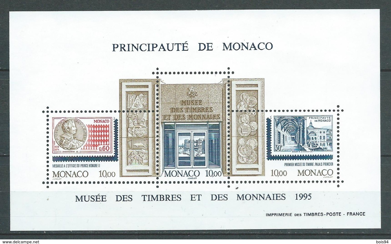 MONACO 1995 . Bloc Feuillet N° 69 . Neuf ** (MNH) . - Blocks & Kleinbögen