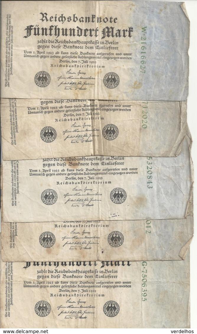 ALLEMAGNE 500 MARK 1922 VG+ P 74 ( 5 Billets ) - [ 3] 1918-1933 : Repubblica  Di Weimar