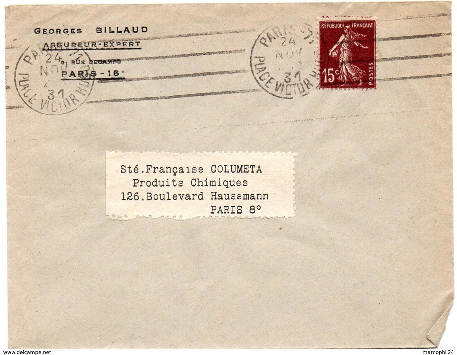 PARIS 71 / PL VICTOR HUGO 1931 =  FLAMME KRAG Muette '4 Lignes Droites Inégales' - Oblitérations Mécaniques (flammes)