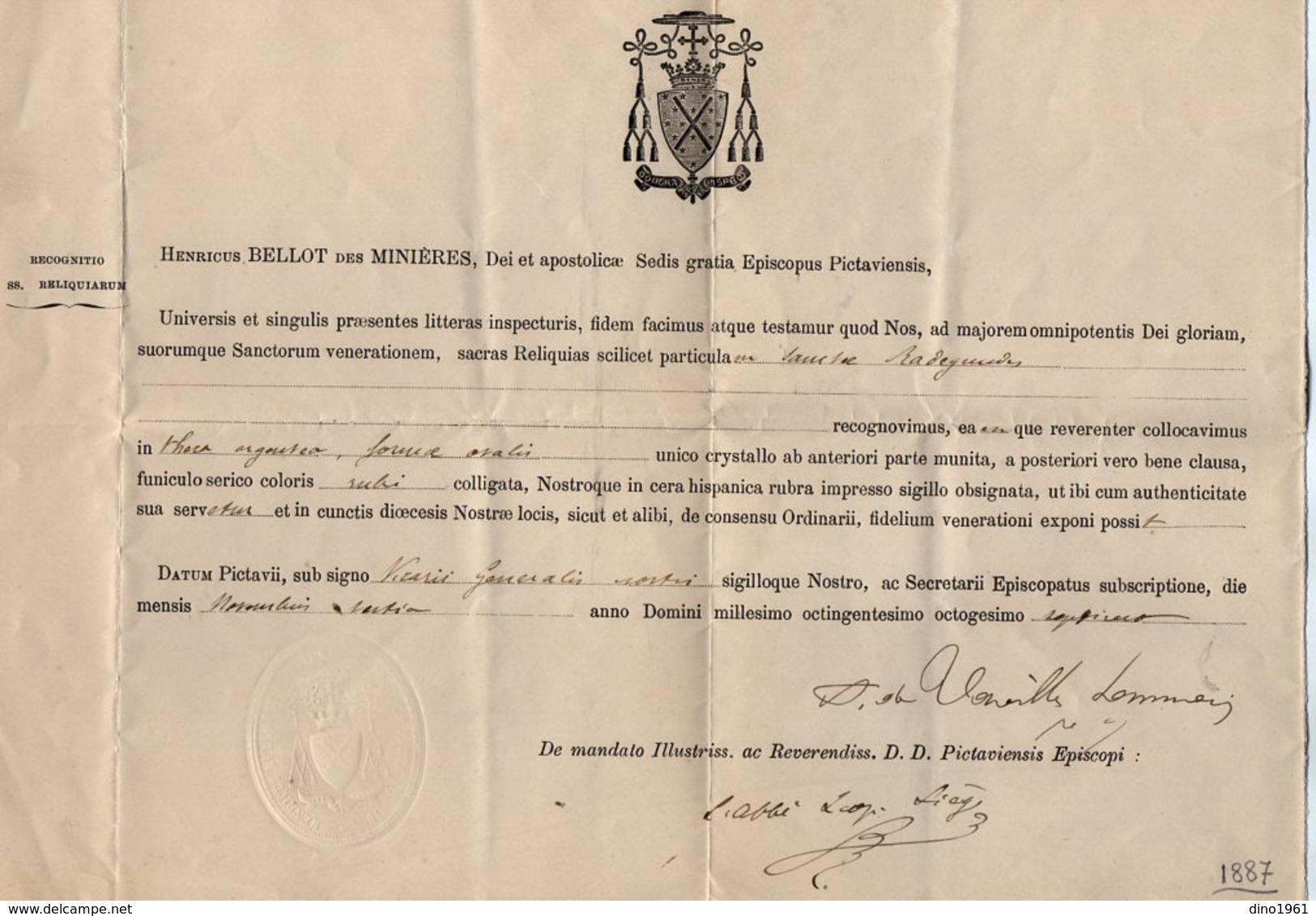 VP16.035 - 1887 - Document En Latin - Monseigneur Henricus BELLOT Des MINIERES Evêque De POITIERS - Religión & Esoterismo