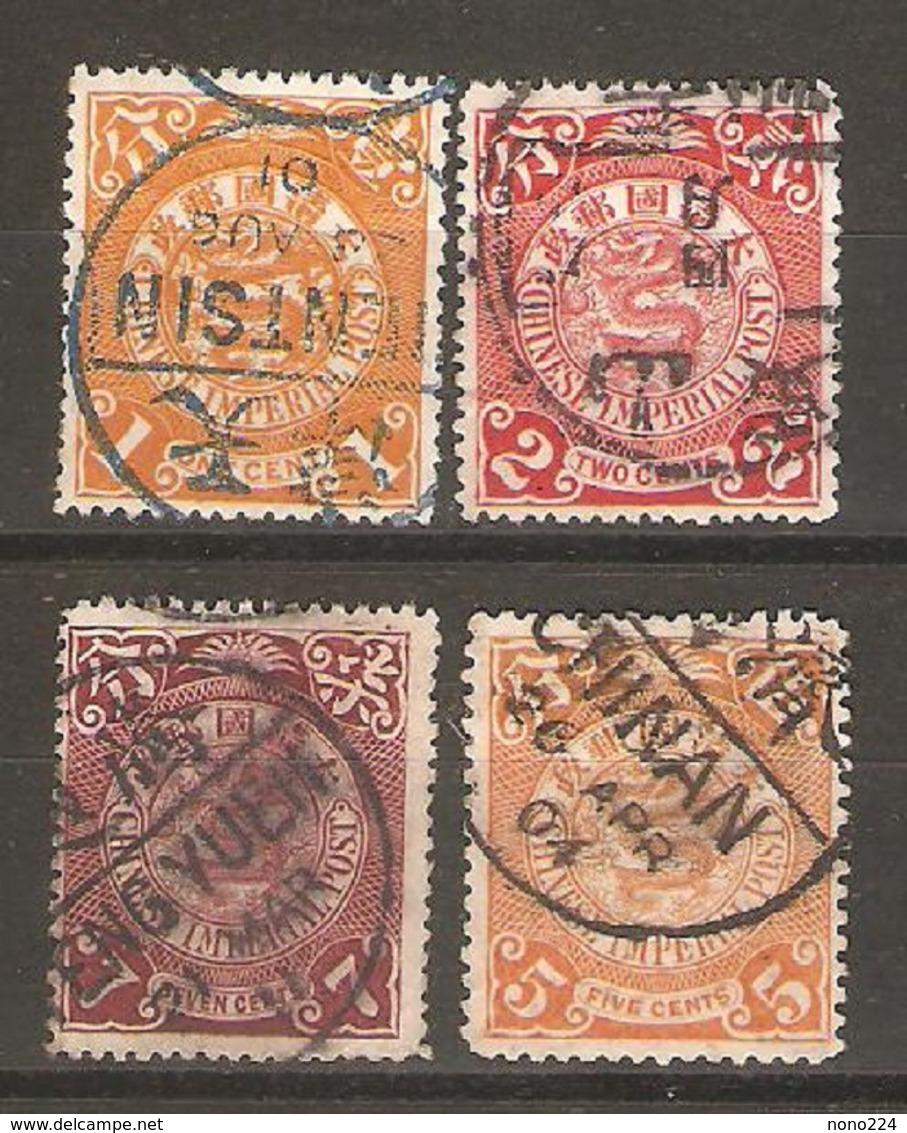 4 Timbres De 1898 ( Chine / Dragon ) - China
