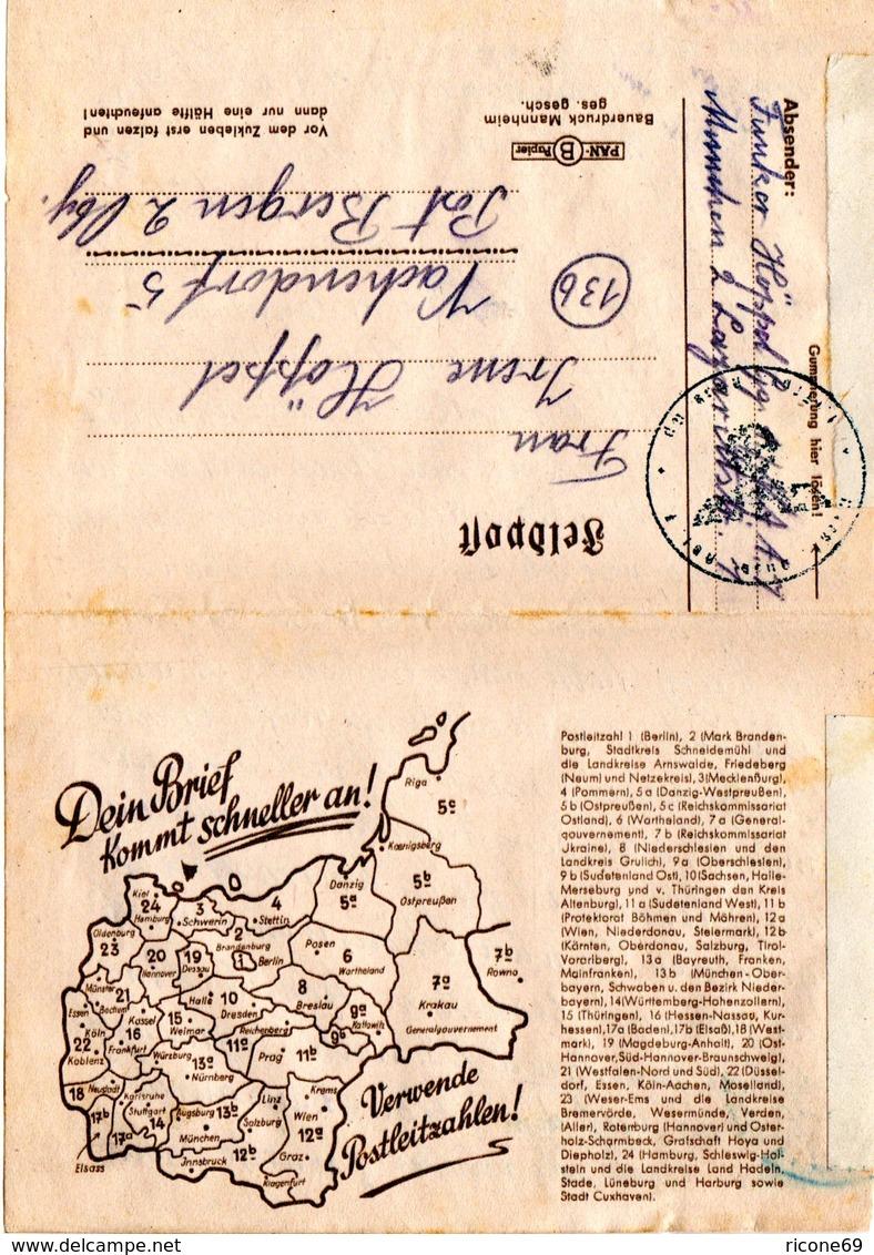 DR 1945, Feldpost Falt Brief V. München M. Post-Leitzahlen Werbung. - Alemania