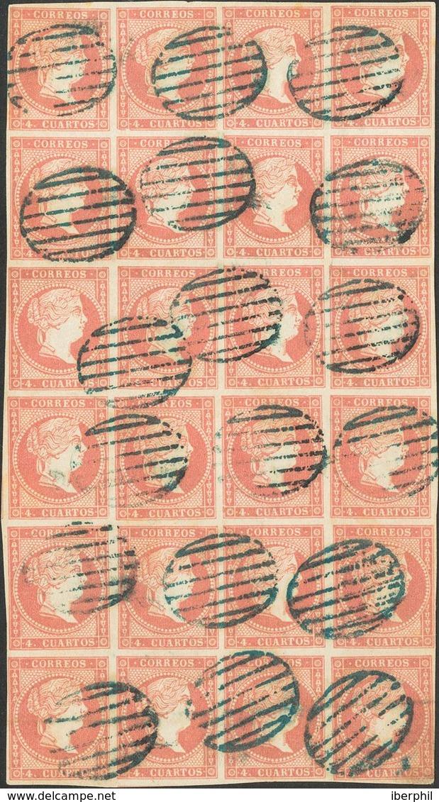 º48(24). 1859. 4 Cuartos Rojo, Bloque De Veinticuatro. Matasello PARRILLA, En Azul. MAGNIFICO Y RARO. - Spagna
