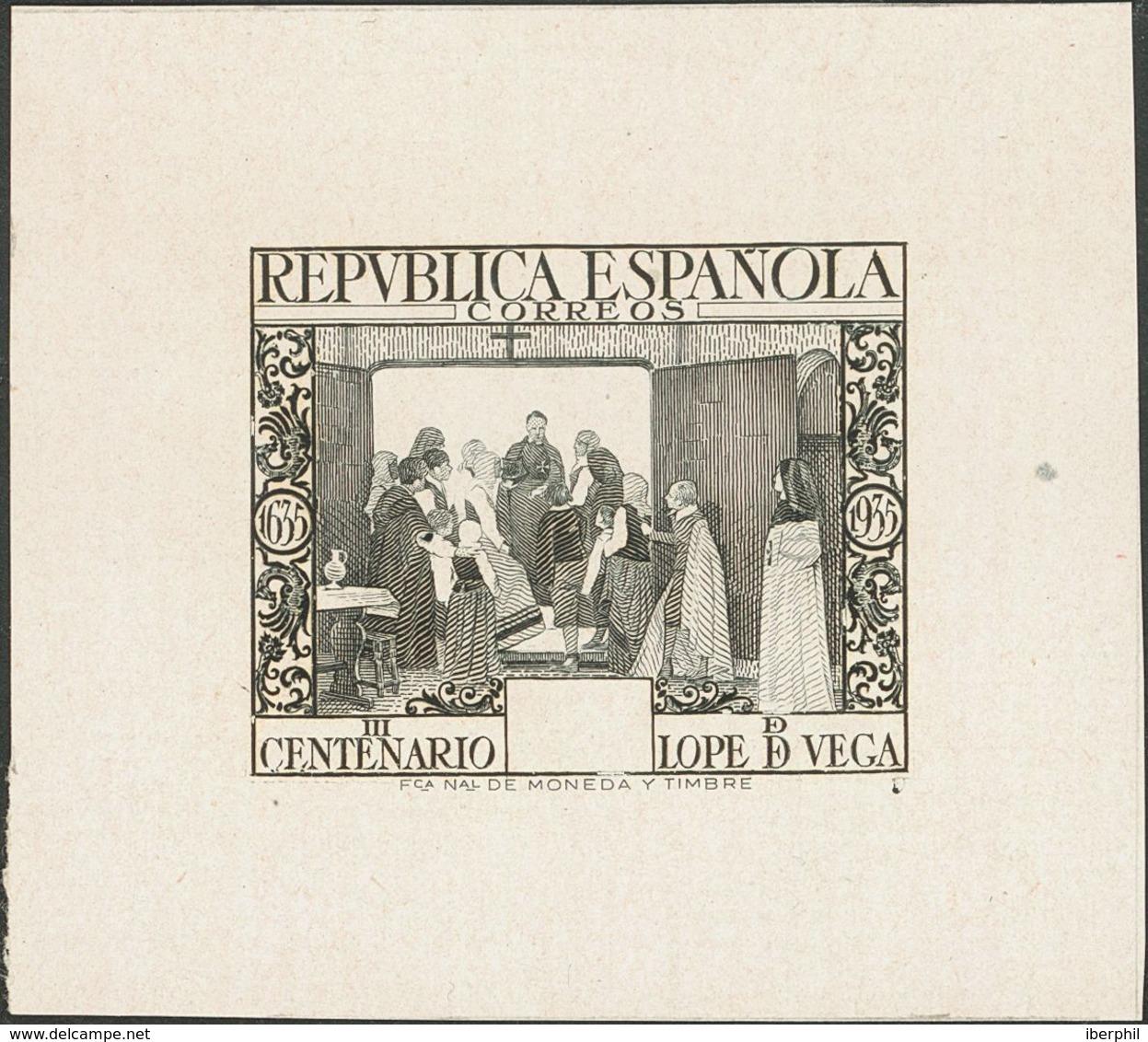 (*)693P. 1935. Sin Valor, Negro. PRUEBA DE PUNZON (Primer Estado). MAGNIFICA Y RARA. (Gálvez, 3168) - Espagne