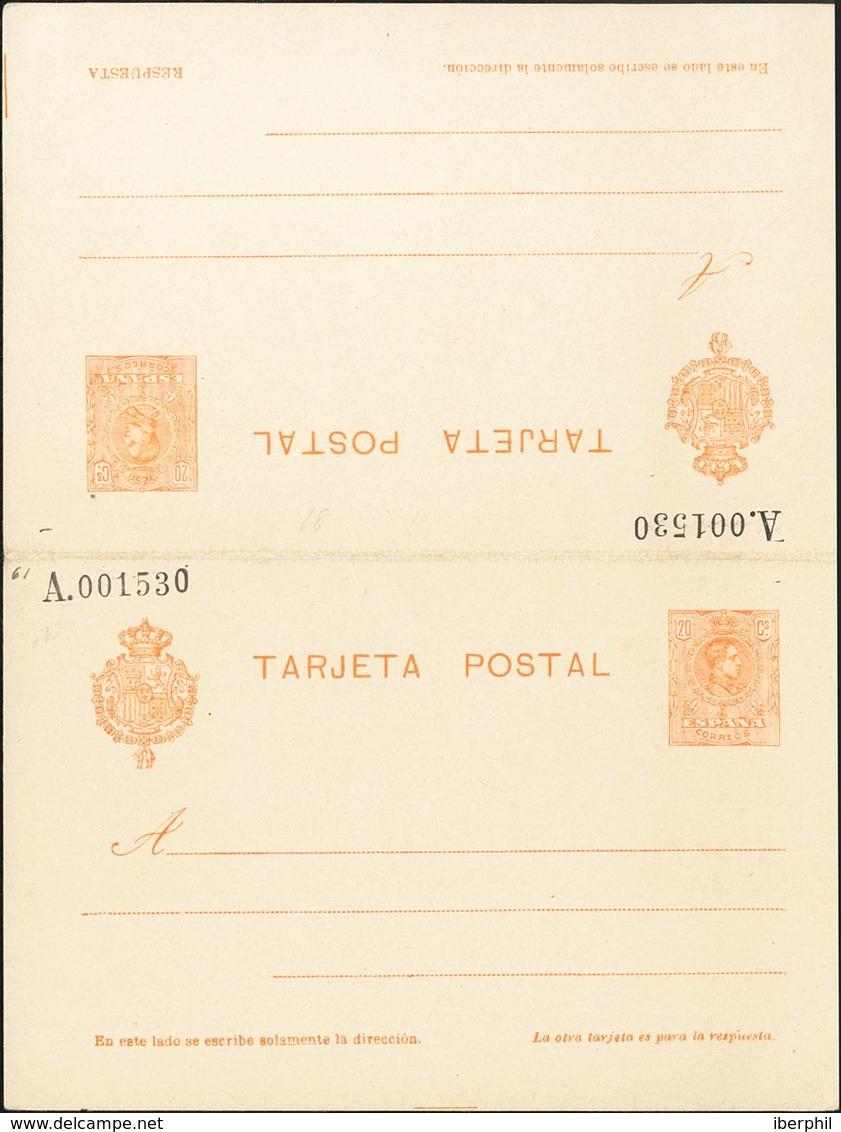 (*)EP52. 1910. 20 Cts+20 Cts Naranja Sobre Tarjeta Entero Postal, De Ida Y Vuelta. MAGNIFICA. Edifil 2019: 112 Euros - Interi Postali