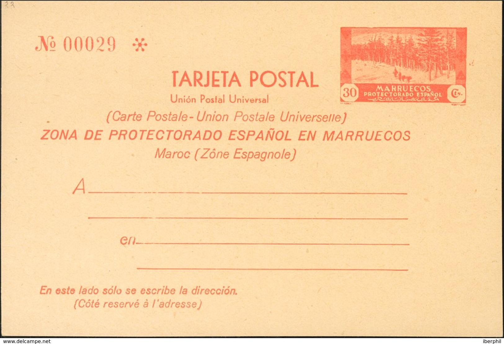 (*)EP24. 1935. 30 Cts Rojo Sobre Tarjeta Entero Postal. MAGNIFICA. Edifil 2020: 160 Euros - Espagne