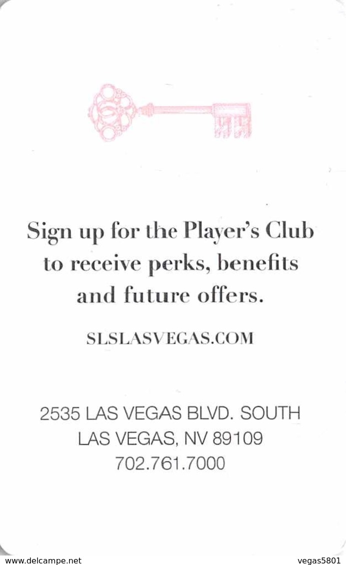 SLS - Hotel Casino Las Vegas - Hotel Room Key Card, Hotelkarte, Schlüsselkarte, Clé De L'Hôtel - Hotelkarten