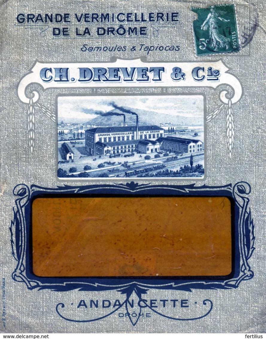 ANDANCETTE , Gde Vermicellerie De La Drome C. Drevet  / LSC De 1917 TB - Postmark Collection (Covers)