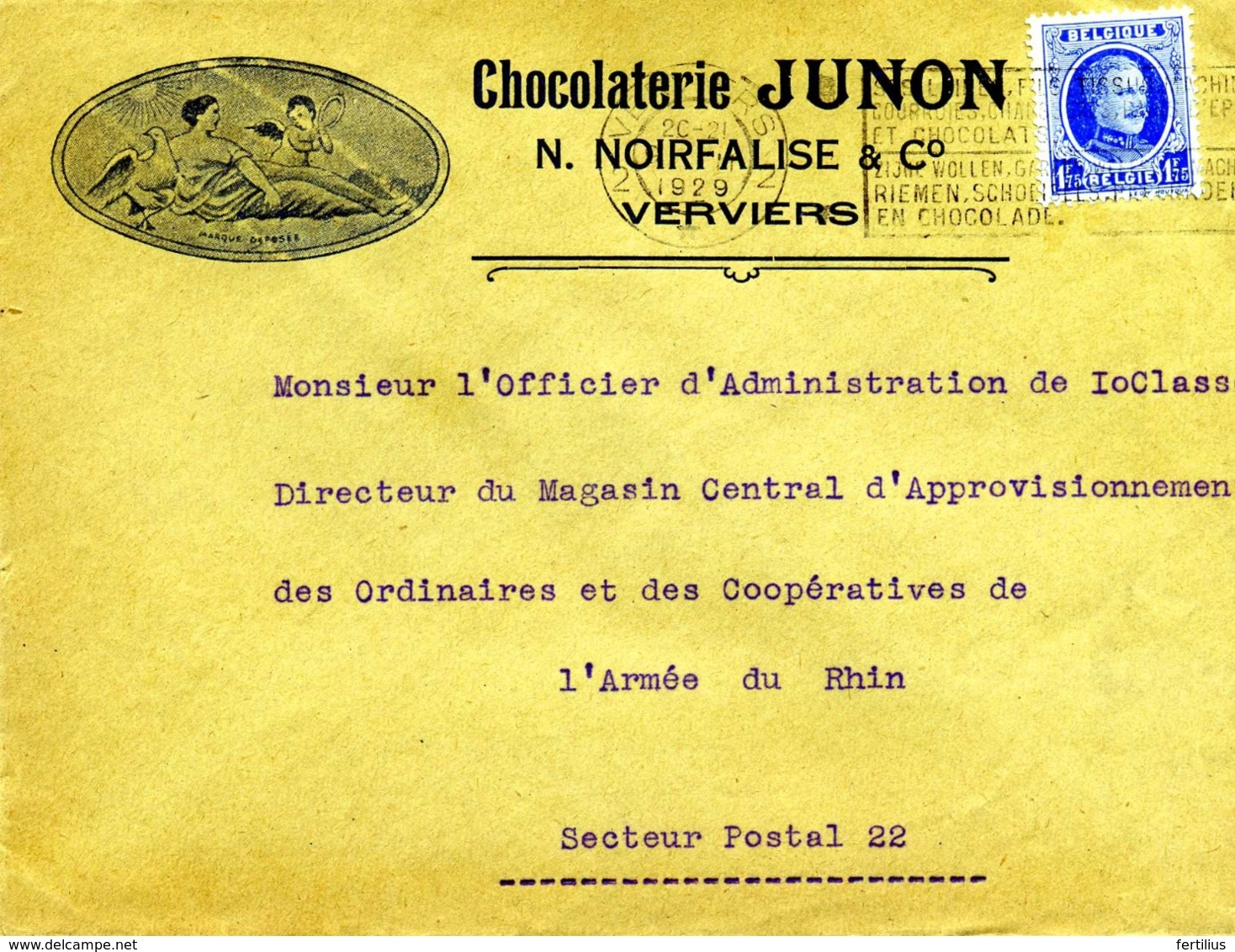 VERVIERS Chocolaterie JUNON, N. NoirFalise & Cie / LSC De 1929 > Armée Du Rhin à Trêves TB - Postmark Collection