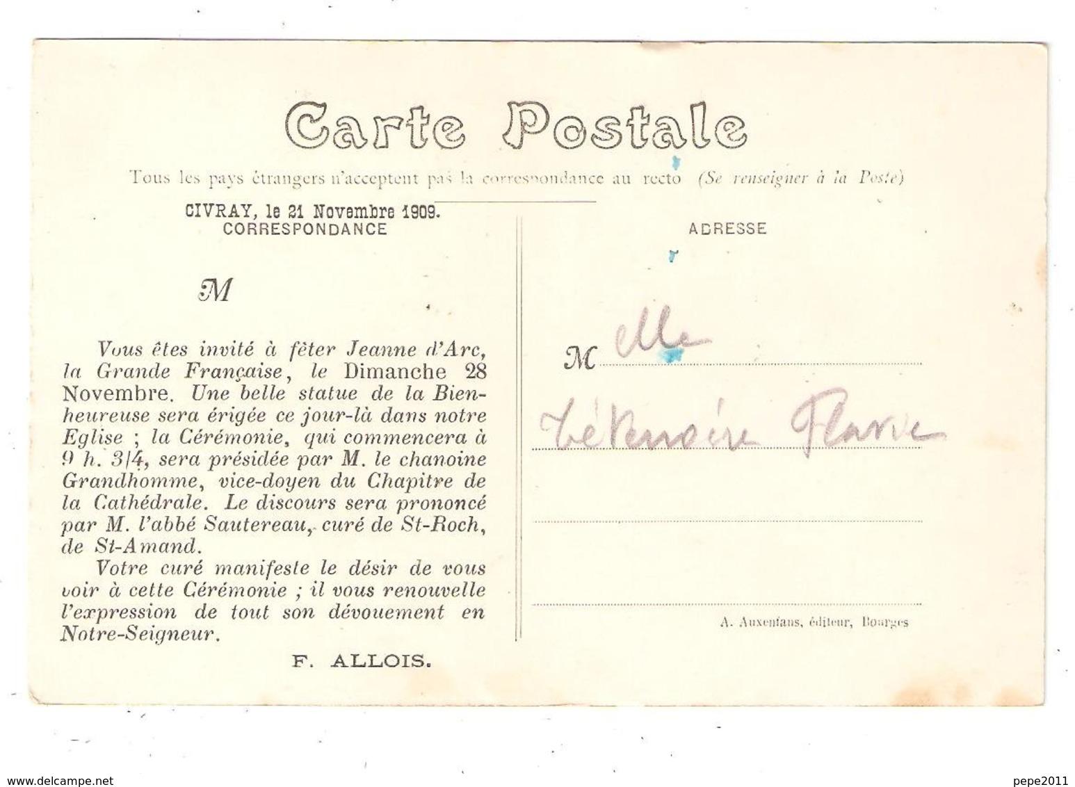 CPA18 CIVRAY Environs St FLORENT Sur Cher - Place Eglise Animée - Au Dos: Invitation Commémoration Jeanne D'Arc - Saint-Florent-sur-Cher