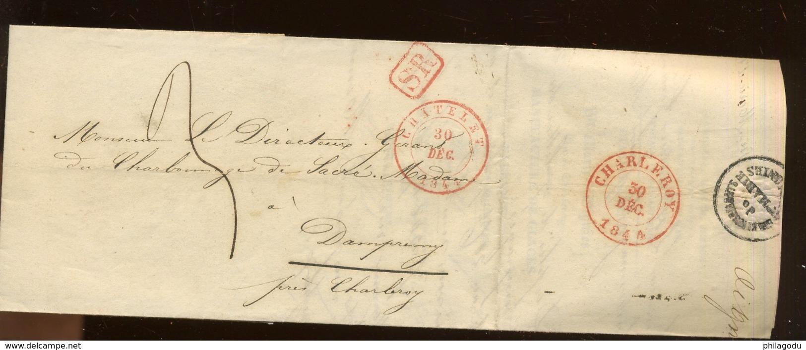 Envoyée De Chatelet 30 Dec 1844.   Facture - 1830-1849 (Belgica Independiente)