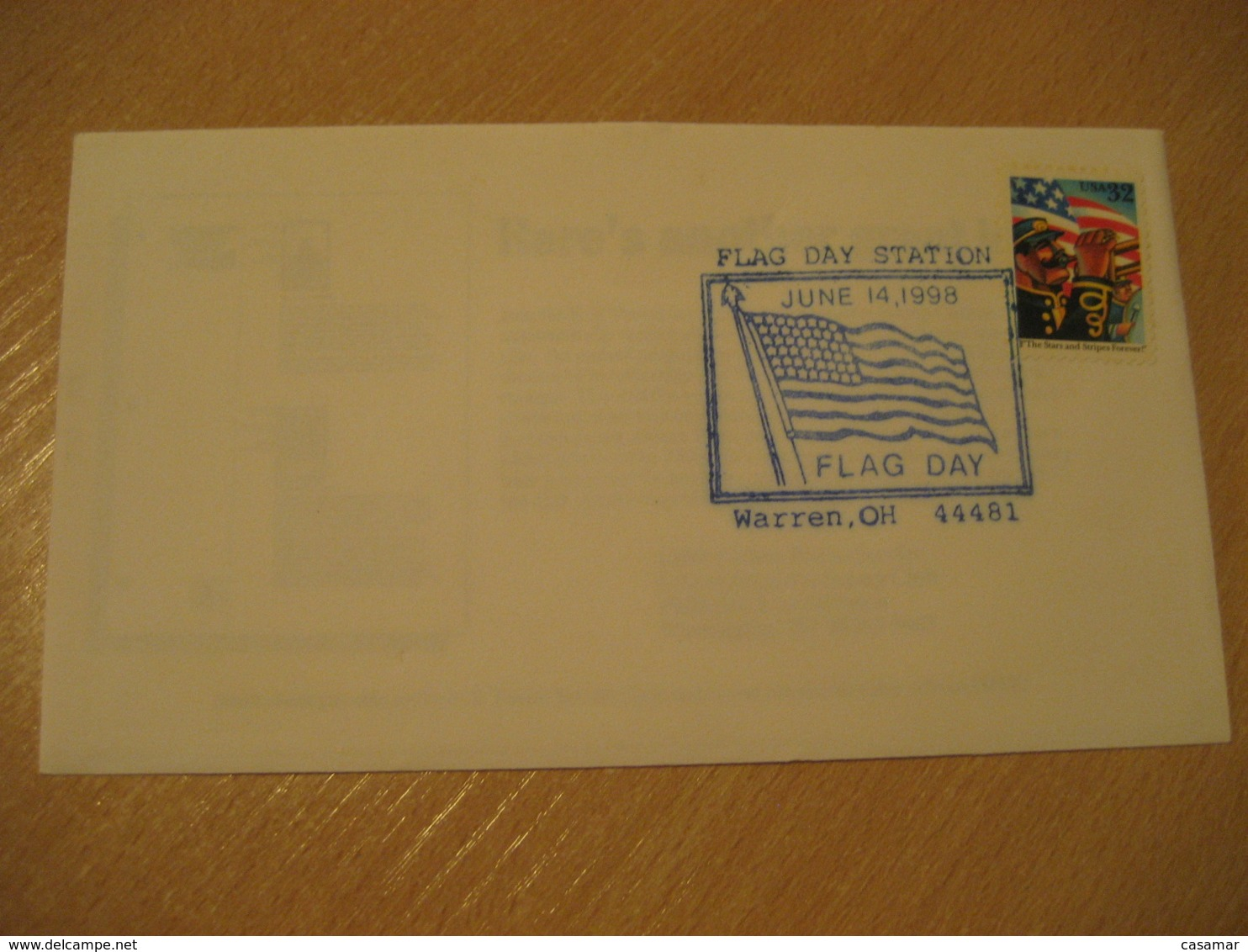 WARREN 1998 Day Flag Flags Cancel Cover USA - Briefe