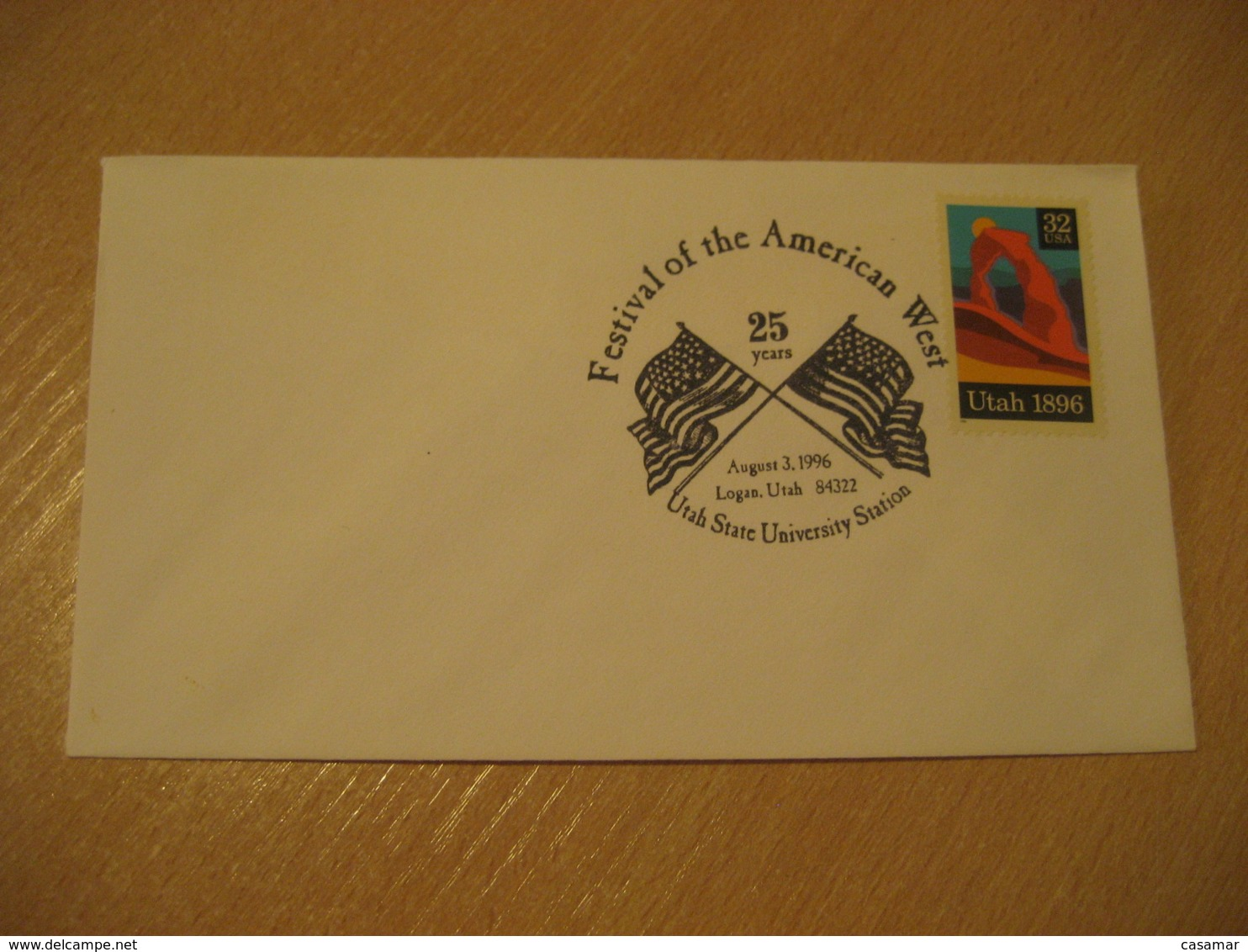 LOGAN 1996 American West University Flag Flags Cancel Cover USA - Briefe