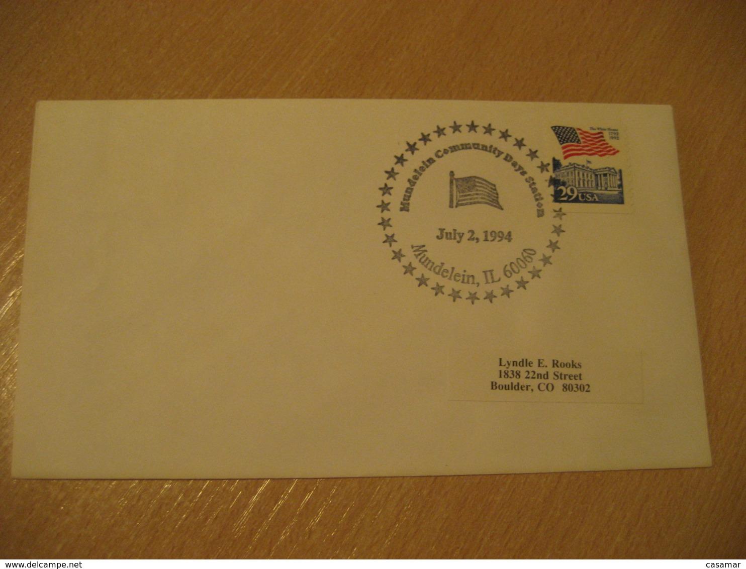 MUNDELEIN 1994 Flag Flags Cancel Cover USA - Briefe