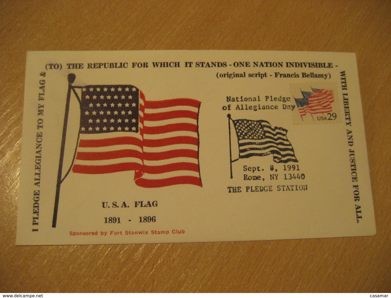 ROME 1991 Francis Bellamy Pledge Flag Flags Cancel Cover USA - Briefe