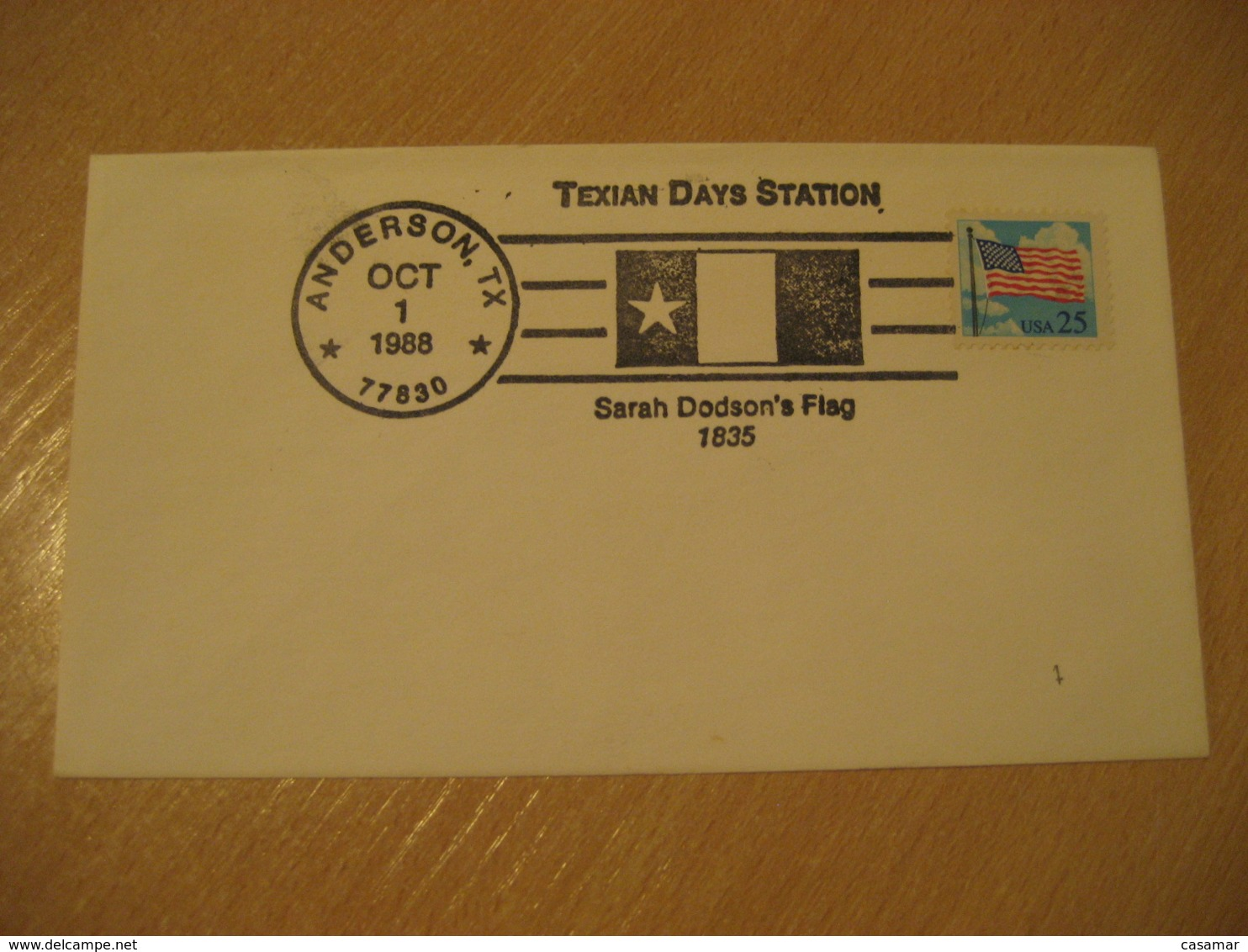 ANDERSON 1988 Sarah Dodson Flag Flags Cancel Cover USA - Buste