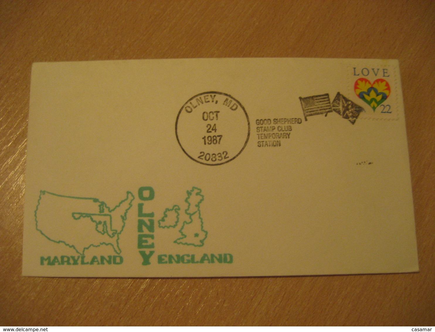 OLNEY 1987 Maryland England Good Shepherd Flag Flags Cancel Cover USA - Briefe