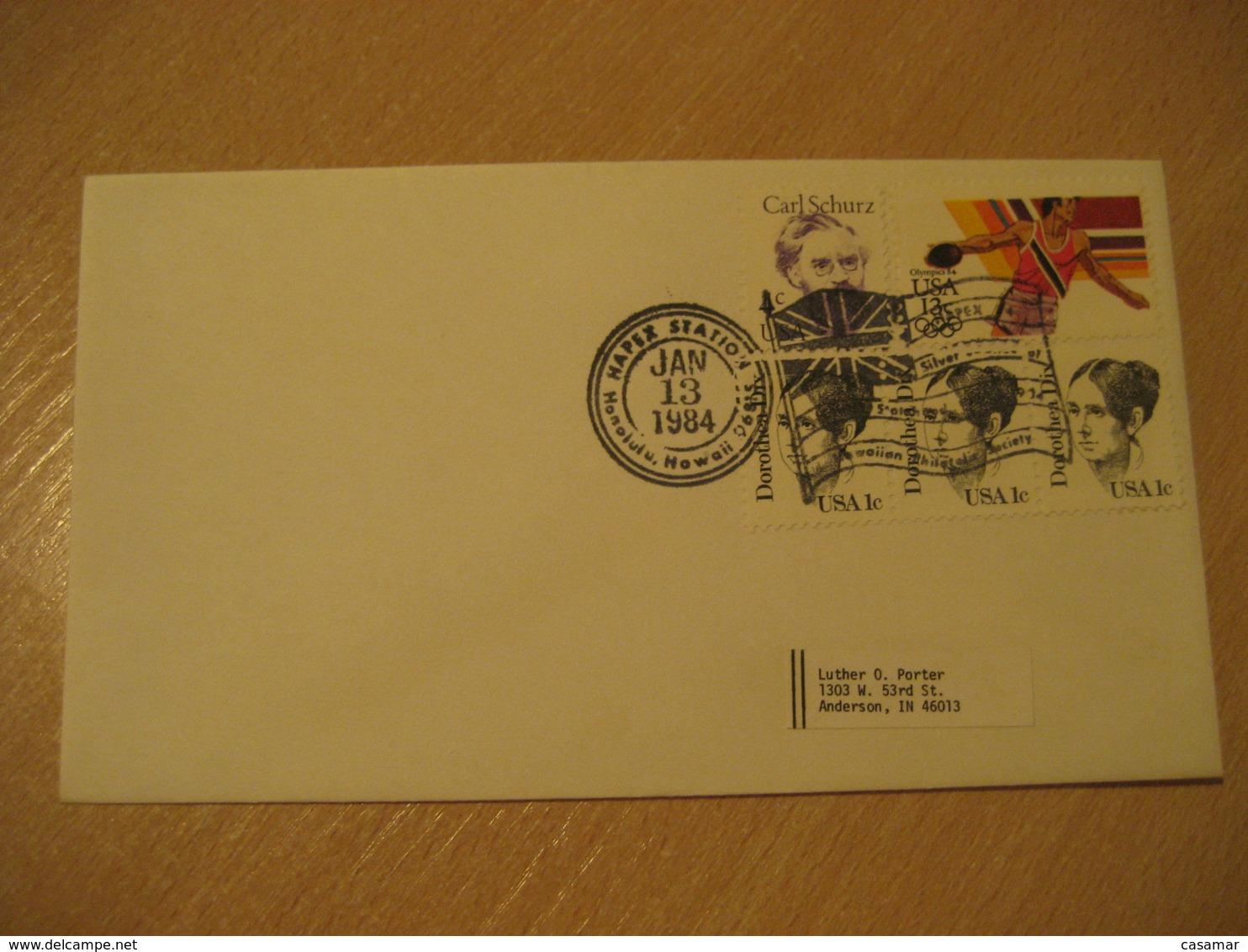 HONOLULU Hawaii 1984 Flag Flags Cancel Cover USA - Briefe