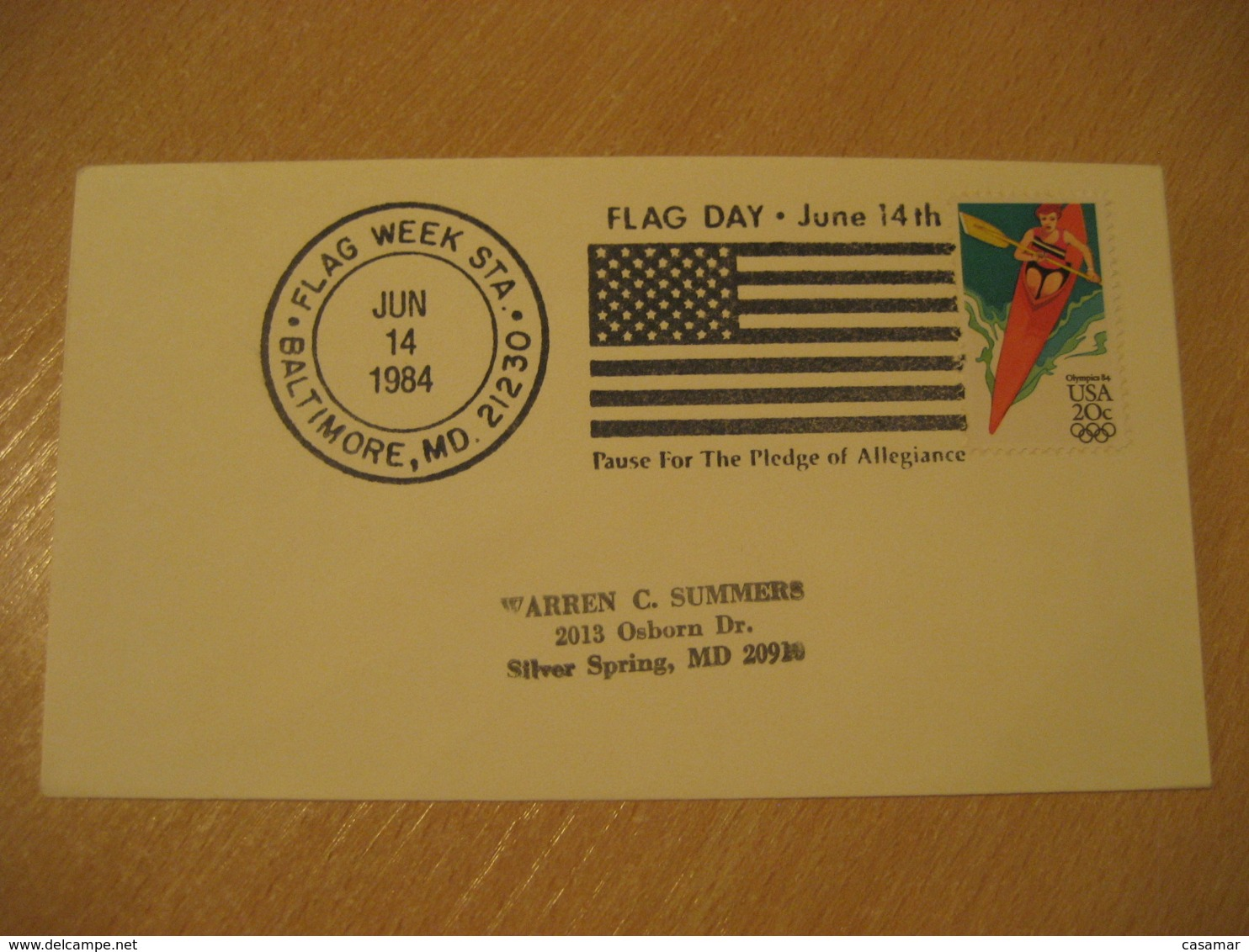 BALTIMORE 1984 Pledge Of Allegiance Day Flag Flags Cancel Cover USA - Briefe