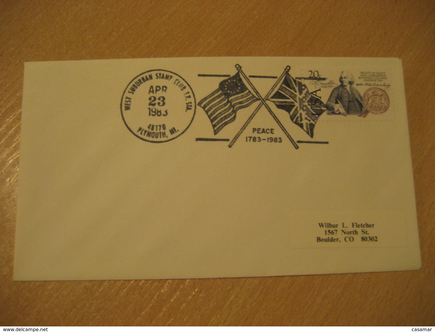 PLYMOUTH 1983 England Peace Flag Flags Cancel Cover USA - Briefe