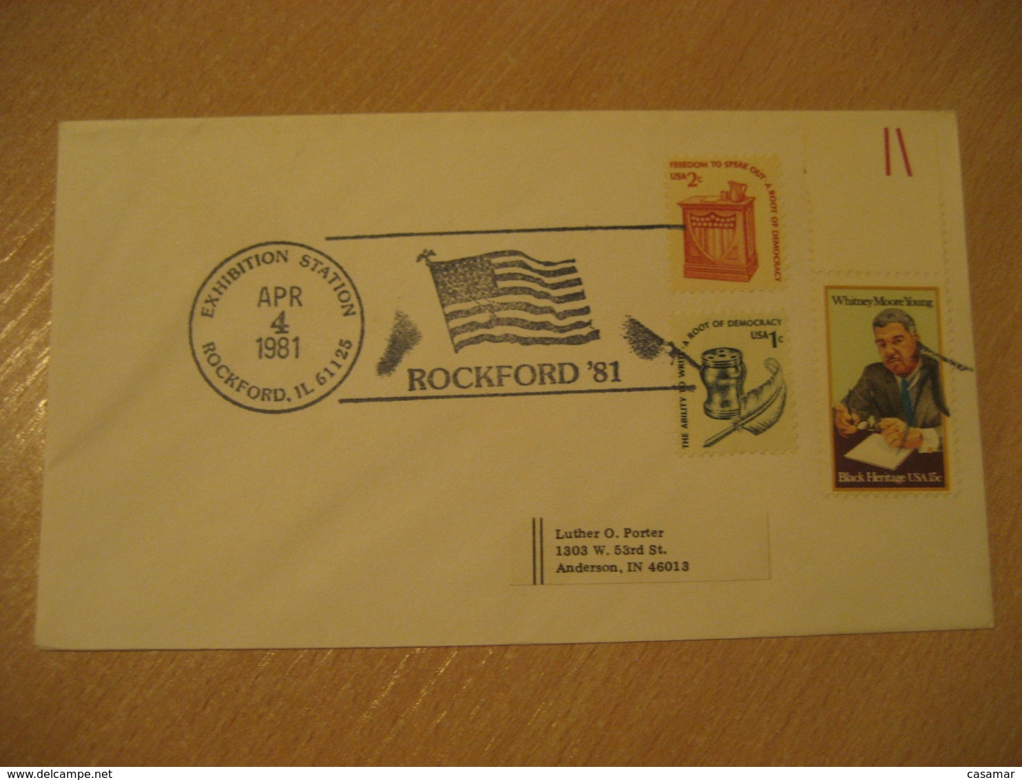 ROCKFORD 1981 Flag Flags Cancel Cover USA - Briefe