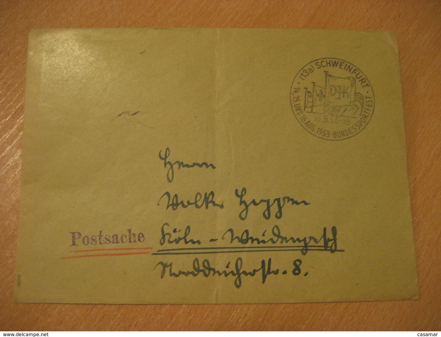 SCHWEINFURT 1953 Bundes Sportfest Flag Flags Cancel Cover GERMANY - Briefe