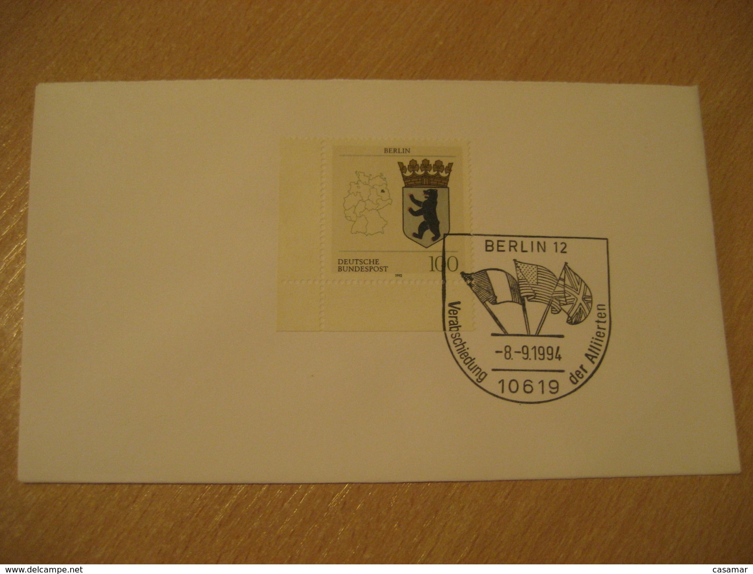 BERLIN 1994 Allierten Flag Flags Cancel Cover GERMANY - Briefe