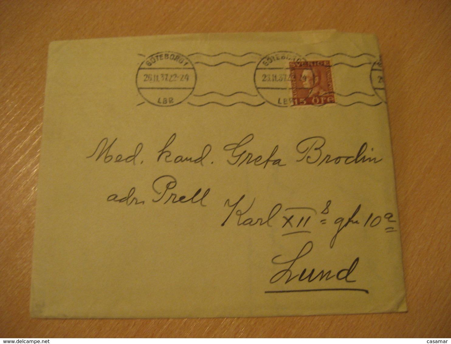 GOTEBORG 1937 Poster Stamp Label Vignette Flag Flags On Cancel Cover SWEDEN - Briefe