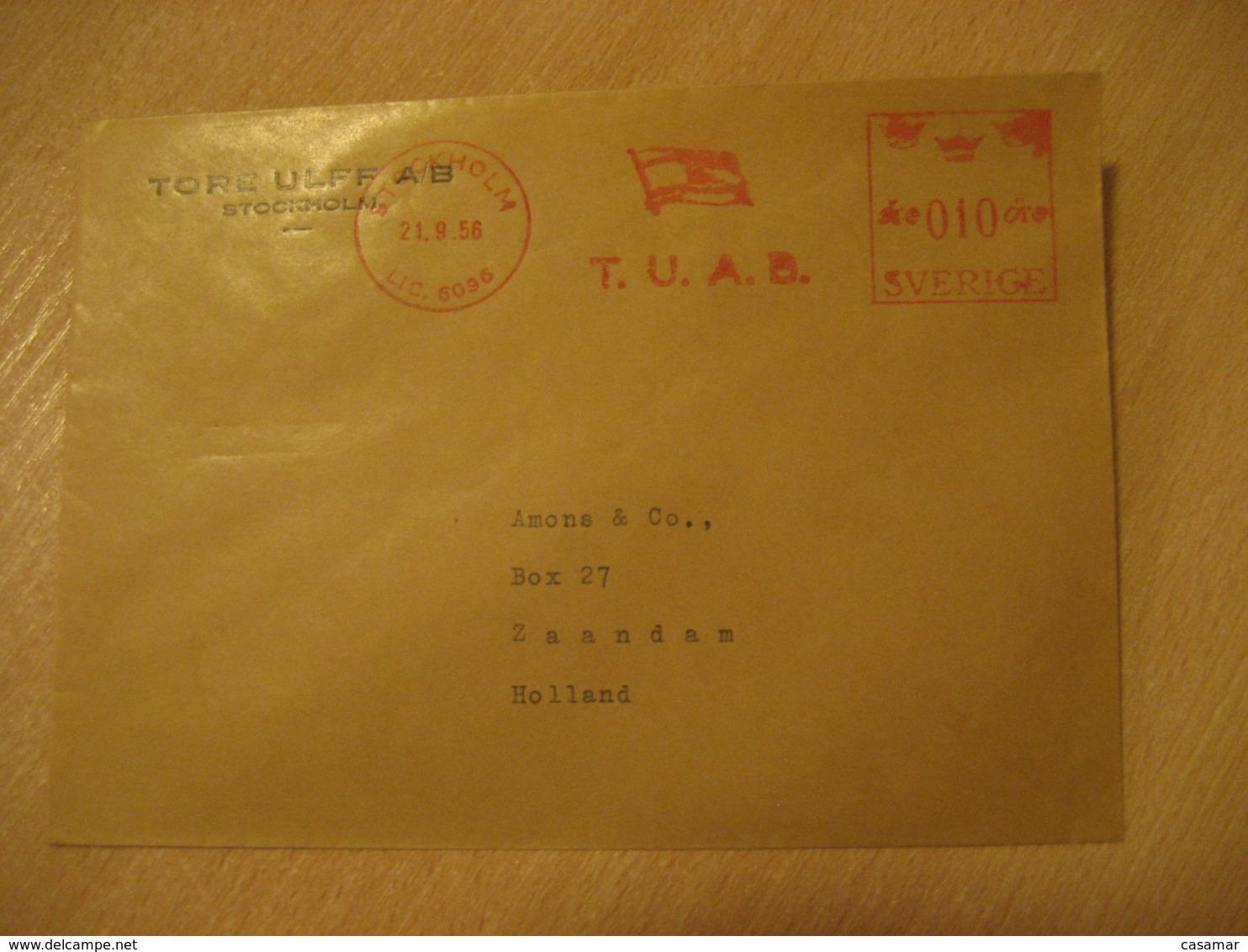 STOCKHOLM 1956 To Zaandam Holland T.U.A.B. Meter Mail Cancel Cover SWEDEN - Briefe