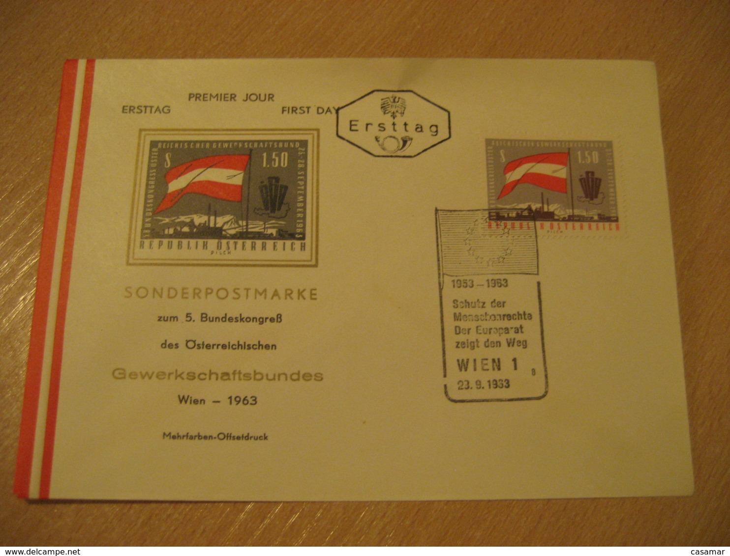 WIEN 1963 Europa Eurpeism Flag Flags FDC Cancel Cover AUSTRIA - Briefe