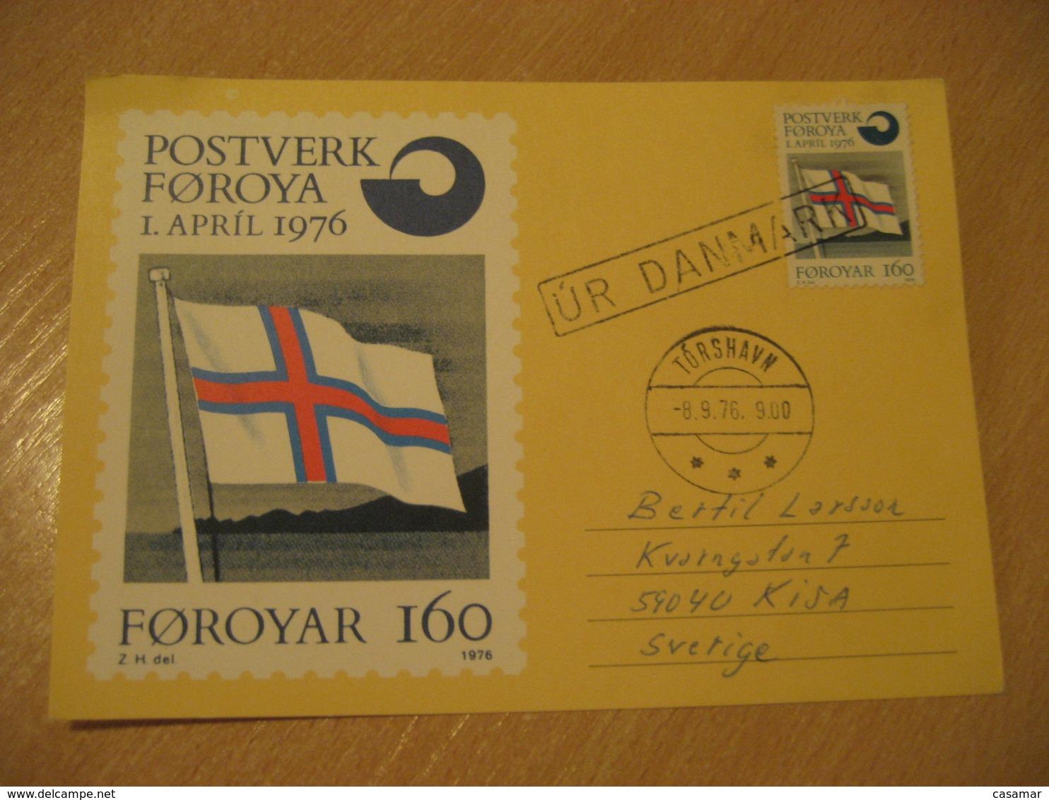 TORSHAVN 1976 Denmark Flag Flags Cancel Maxi Maixmum Card FAROE ISLANDS - Briefe