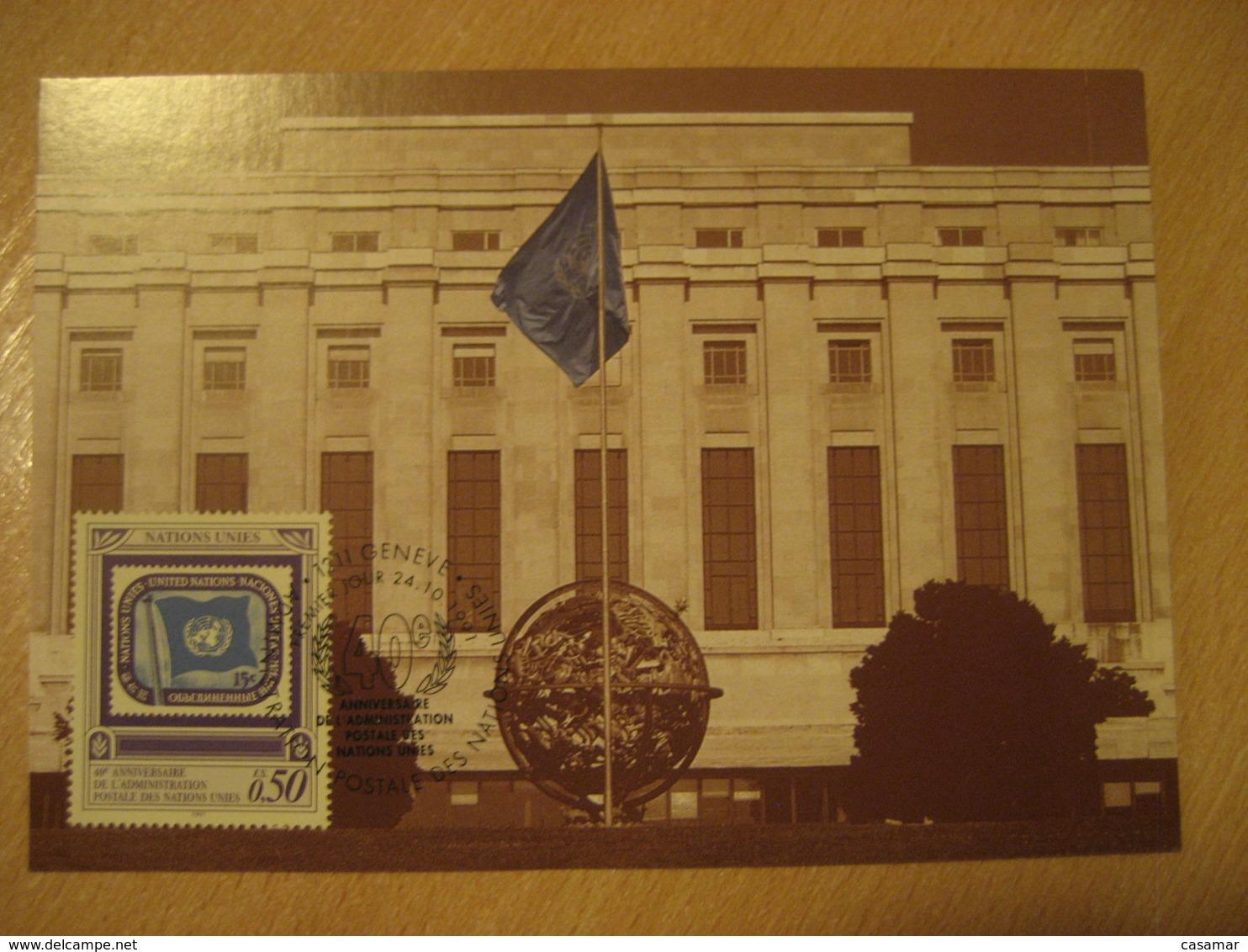 GENEVE 1991 40th Anniversary Flag Flags Maxi Maximum Card Switzerland UNITED NATIONS - Briefe