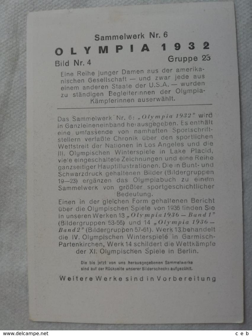 Foto Cromo Olimpiada De Los Ángeles. 1932. Nº 4. USA. Hecho En 1936 Para Olimpiada De Berlín. Alemania. Pre II Guerra M - Tarjetas
