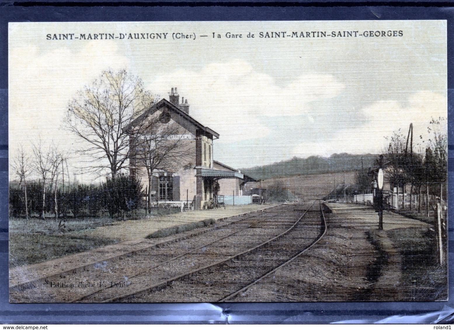 Saint-Martin-D'Auxigny - La Gare De Saint-Martin-Saint-Georges (carte Toilée). - Autres Communes