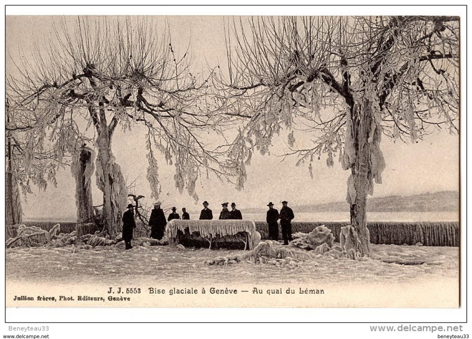 CPA (Réf : O213) J. J 5553 Bise Glaciale à GENÈVE (SUISSE) Au Quai Du Léman (animée) - GE Ginevra