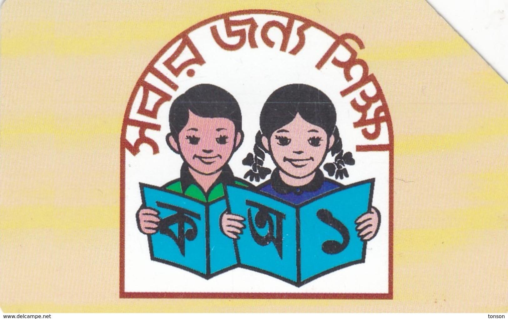 Bangladesh, BD-TSS-URM-0004C, 50 Units , Children Reading A Book (Thin Band - Text On 3 Lines), 2 Scans. - Bangladesh