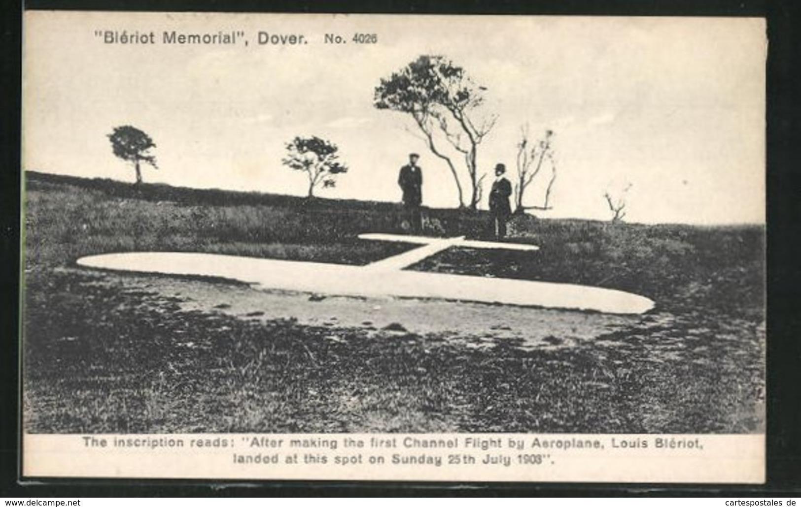 AK Dover, Blériot Memorial, Flugzeug-Gedenkplatz Für Louis Blériot - Ohne Zuordnung